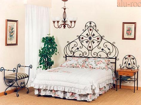Cabecero de cama en forja de hierro artesanal pintada a mano - Cabeceros de forja originales ...